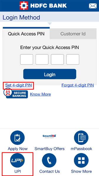 Access HDFC Mobile Banking
