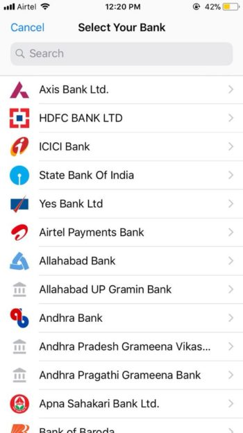 select the bank for UPI