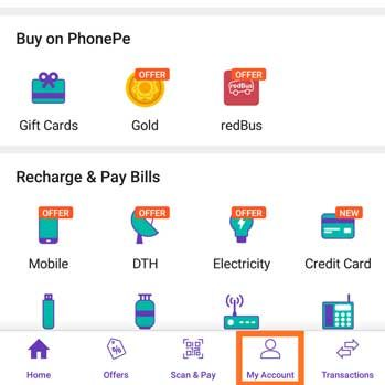 phonepe My Account Section