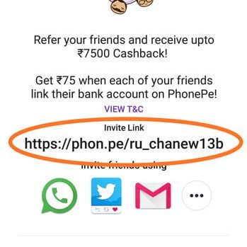 Invite Link for Cashback Rewards