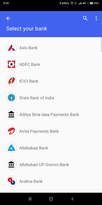 Choose Bank Account