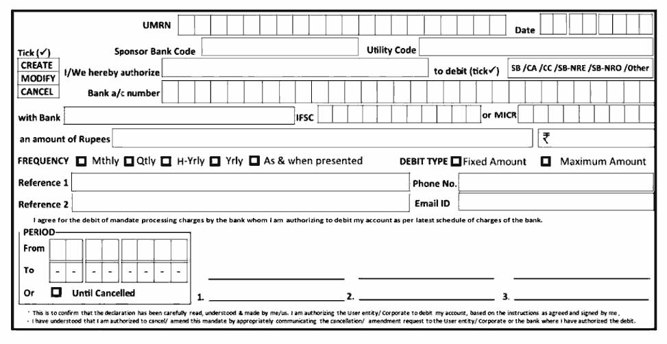 NACH Sample Mandate Form