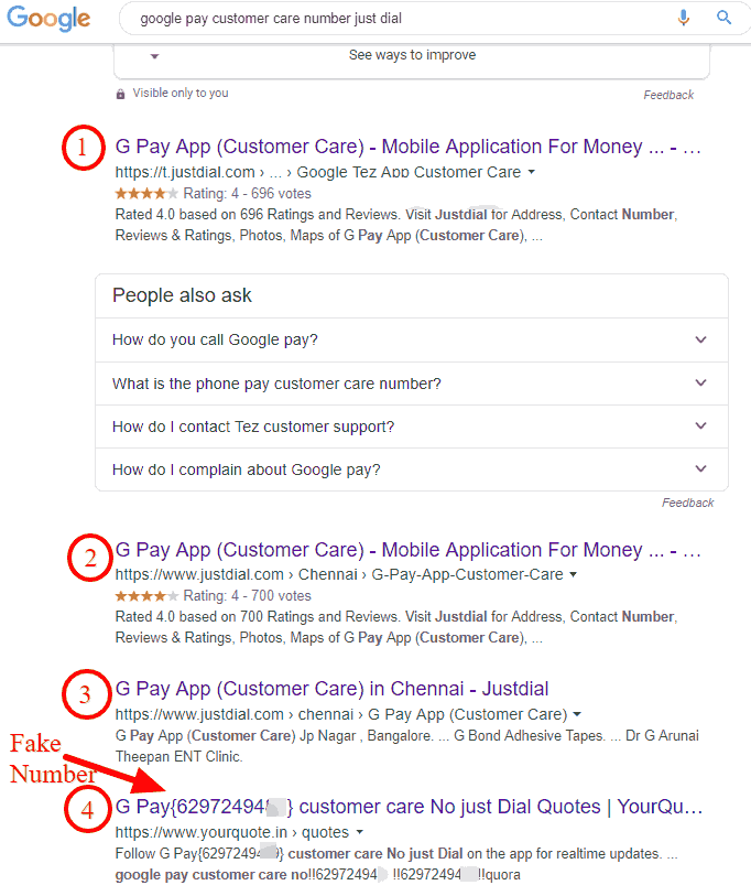 Google Pay Customer care search result