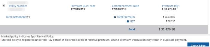 premium payment details